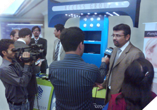 Mr. Owais Zaidi (COO) speaking to media at the 4th International Mobile Commerce Conference.