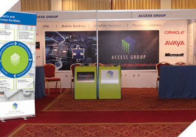 The Access Group Stall at the 9th International E-Banking Conference & Exhibition 2011 held at Pearl Continental Hotel.