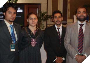 Mr. Imran Farooq (Sales Executive), Ms. Alina Tariq (Asst. Brand Manager), Mr. Hunaid Abbas (Sr. Marketing Executive) & Mr. Faisal Qadri (Business Unit Manager - Communications) at the conference.